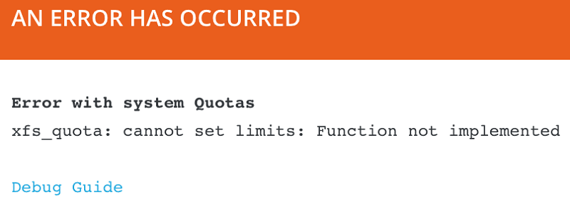 xfs quota: cannot set limits: Function not implemented